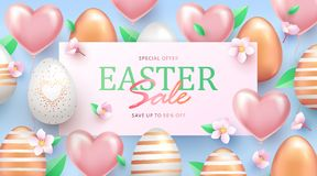 Easter Sale banner design with rose gold ornate eggs, helium shining light pink balloons, spring blossoms and light green leaves. Holiday Easter background royalty free illustration