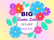 Easter sale banner. With colorful flowers and leaves. Vector illustration Royalty Free Stock Photo