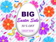 Easter sale banner. With colorful flowers,streamers and beads on striped background. Vector illustration Royalty Free Stock Image