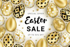 Easter sale banner eggs and beads stock illustration