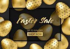 Easter sale banner with golden patterned eggs royalty free illustration