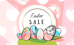 Easter sale banner. Hand drawn vector abstract creative Easter Sale greeting border design template with painted Easter eggs on green grass with golden frame on Royalty Free Stock Photography