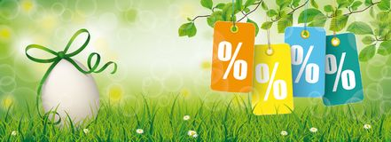 Easter Egg Grass Beech Twigs Price Stickers Percents Header. Easter sale banner with nature and colored price stickers with percents Royalty Free Stock Images
