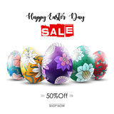 Easter sale banner with ornamental easter eggs Royalty Free Stock Photography