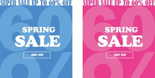 Easter sale banner set. up to 60% off. royalty free illustration