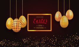 Easter sale banner template with frame and gold ornate hanging eggs. Background design for celebration, shopping discount and prom. Otion. Vector illustration vector illustration