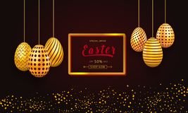 Easter sale banner template with frame and gold ornate hanging eggs. Background design for celebration, shopping discount and prom. Otion royalty free illustration