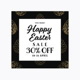 Easter sale banner template with golden patterned eggs. stock image
