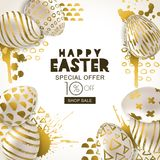 Easter sale banner. Vector golden 3d eggs hand painted decoration. Design for holiday flyer, poster, party invitation. Happy Easter square sale banner. Vector Royalty Free Stock Photos