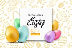 Easter sale banner. Vector holiday frame with multicolor 3d Easter eggs. Design for holiday flyer, poster, invitation. Happy Easter sale banner. Vector holiday Stock Photography