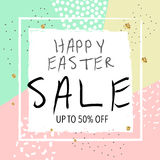 Easter sale banner. Vector illustration. Colorful trendy abstract background. Stock Photo