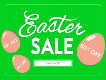 Easter sale banner. Vector illustration. Easter sale banner with lettering and eggs. Vector illustration Royalty Free Stock Photography