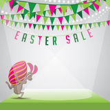 Easter Sale Bunny Egg And Bunting Background EPS 10 Vector Stock Images