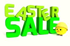Easter sale 3D with easter chicken Royalty Free Stock Photography