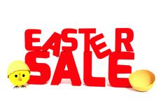 Easter sale 3D with easter chicken Royalty Free Stock Photos