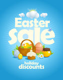 Easter sale design with rays of light and still life with basket Stock Image