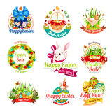 Easter sale and egg hunt celebration cartoon icons Royalty Free Stock Image