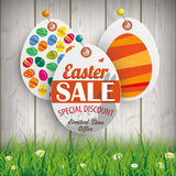 Easter Sale Eggs Price Stickers Grass Pins Royalty Free Stock Image