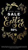 Easter sale flyer with wreath golden leaves and Easter bunny on. Black background Royalty Free Stock Image