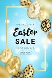 Easter sale golden eggs design vertical vector illustration