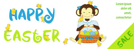 Easter sale horizontal banner with cute monkey Royalty Free Stock Photos