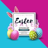 Easter Sale Illustration with Color Painted Egg and Typography Element on Abstract Background. Vector Holiday Design Stock Photos