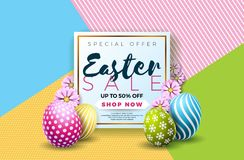 Easter Sale Illustration with Color Painted Egg and Typography Element on Abstract Background. Vector Holiday Design. Template for Coupon, Banner, Voucher or Stock Photos