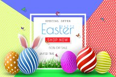Easter Sale Illustration with Color Painted Egg and Typography Element on Abstract Background. Vector Holiday Design Template for. Coupon, Banner, Voucher or Stock Photo
