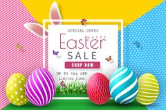 Easter Sale Illustration with Color Painted Egg and Typography Element on Abstract Background. Vector Holiday Design Template for. Coupon, Banner, Voucher or Vector Illustration