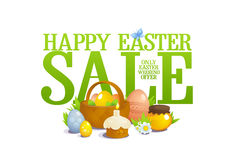 Easter sale illustration, still life with basket with colored eggs, pastry and flowers. Happy Easter sale illustration, still life with basket with colored eggs Royalty Free Stock Image