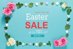 Free Easter Sale Message With Roses And Leaves Royalty Free Stock Image - 173637956