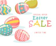 Easter sale offer flyer with eggs and spring flowers. Modern template with pastel colors. Stock Image