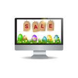 Easter Sale Online Shopping Special Offer Holiday Banner. Flat Vector Illustration Royalty Free Stock Photography