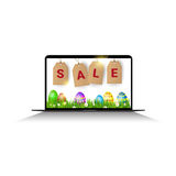 Easter Sale Online Shopping Special Offer Holiday Banner. Flat Vector Illustration Royalty Free Stock Photos