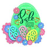 Easter sale paper design egg and flowers royalty free stock images