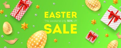 Easter sale, 50 percent off. Holiday offer, huge discounts. Pattern with festive gift boxes, golden Easter eggs, cookies vector illustration