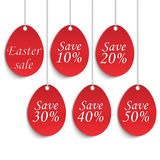 Easter Sale poster with eggs and discounts percentage. Stock Image