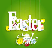 Easter sale poster with eggs and flowers Royalty Free Stock Photo