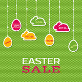Easter sale poster with hanging price stickers Royalty Free Stock Photo