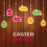 Easter sale poster with hanging price stickers Stock Photo