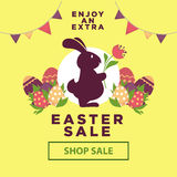 Easter sale poster for online shopping delivery or internet store promo discount web page. Stock Photos