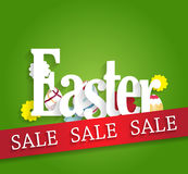 Easter sale poster. Red ribbon with colorful flowers and eggs on green background Stock Images