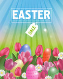 Easter sale poster with tulips and eggs. Spring time. Vector Stock Images