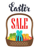 Easter sale. Promotional poster basket with Easter eggs. Royalty Free Stock Photo