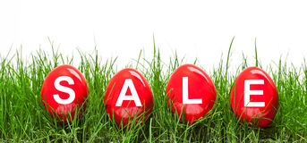 Easter sale. Red easter eggs with letters SALE Royalty Free Stock Image