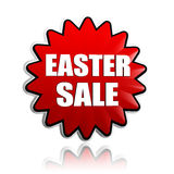 Easter sale in red flower banner Stock Photo