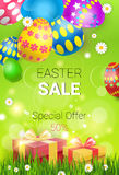 Easter Sale Shopping Special Offer Decorated Colorful Egg Holiday Banner Royalty Free Stock Images
