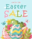 Easter sale special offer banner with eggs and spring flowers. Modern template with pastel colors. Royalty Free Stock Image