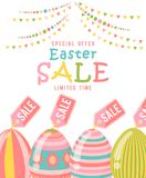 Easter sale special offer concept with eggs and spring flowers. Modern template with pastel colors. Royalty Free Stock Photo