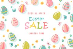 Easter sale special offer poster with eggs and spring flowers. Modern template with pastel colors. Stock Photo